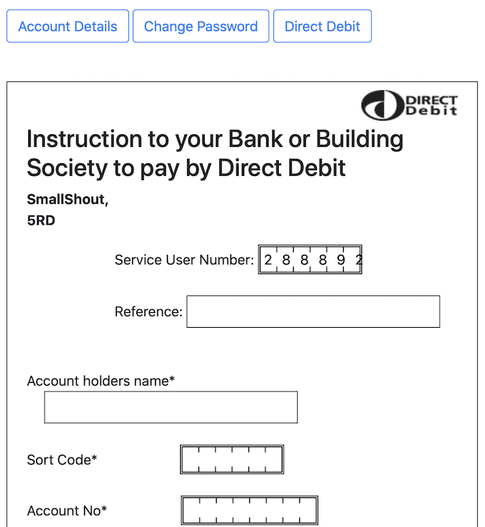 Direct Debit screen